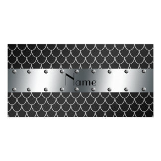 Personalized name black dragon scales photo card