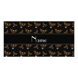 Personalized name black eagles photo card