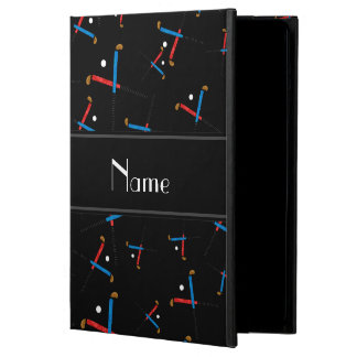 Personalized name black field hockey pattern iPad air cover