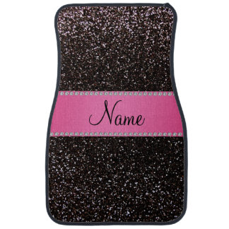 Personalized name black glitter pink stripe car liners