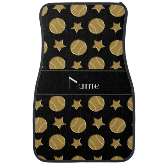 Personalized name black gold baseballs stars car liners
