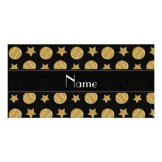 Personalized name black gold baseballs stars photo card
