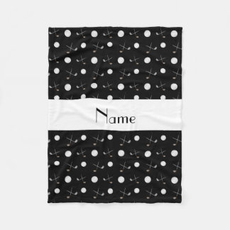 Personalized name black golf balls fleece blanket