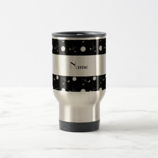 Personalized name black golf balls stainless steel travel mug