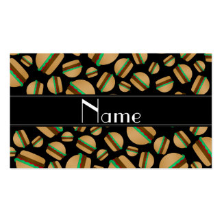 Personalized name black hamburger pattern business card templates