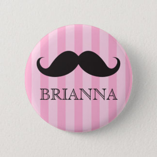 Personalized name black handlebar mustache pink 2 inch round button