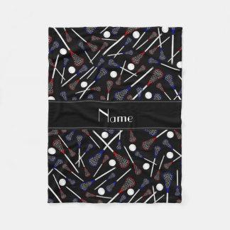 Personalized name black lacrosse pattern fleece blanket