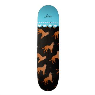 Personalized name black malinois dogs skateboard deck