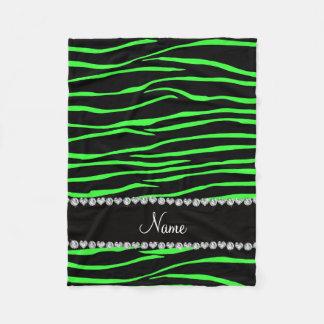 Personalized name black neon green zebra stripes fleece blanket