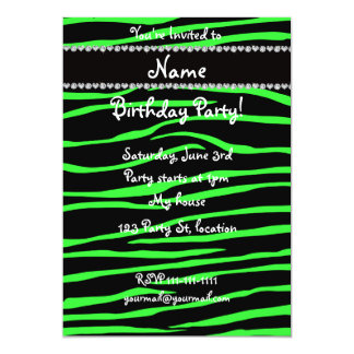 "Personalized name black neon green zebra stripes 5"" x 7"" invitation card"