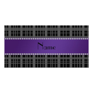 Personalized name black plaid pattern personalized photo card