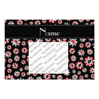 Personalized name black poker chips photo art
