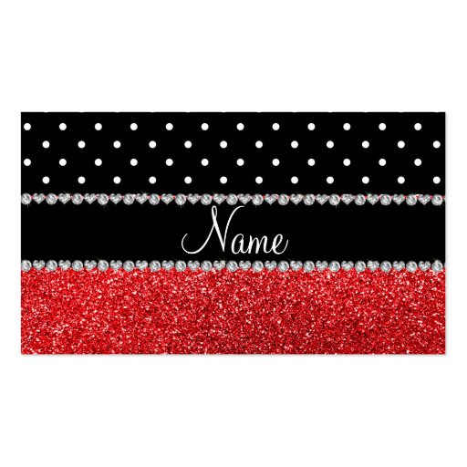 Personalized name black polka dots red glitter business card