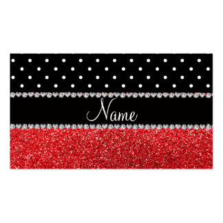 Personalized name black polka dots red glitter pack of standard business cards
