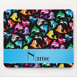 Personalized name black rainbow killer whales mouse pad