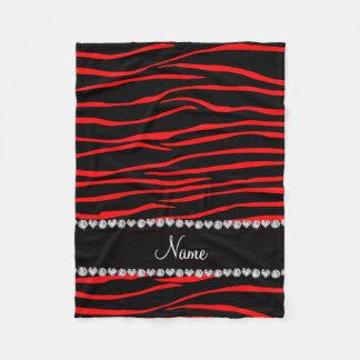 Personalized name black red zebra stripes fleece blanket