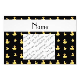 Personalized name black rubber duck pattern photo print