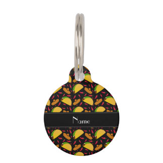 Personalized name black tacos sombreros chilis pet ID tag