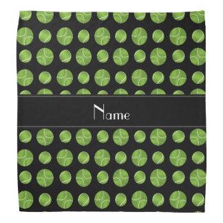 Personalized name black tennis balls pattern bandana