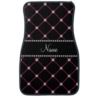 Personalized name black tuft diamonds car mat
