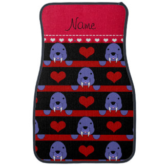 Personalized name black walrus red hearts stripes car floor carpet