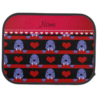 Personalized name black walrus red hearts stripes car liners