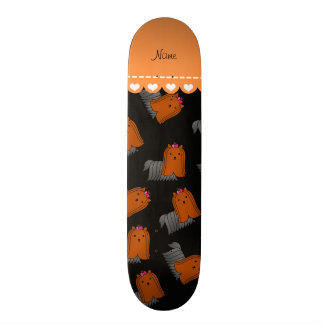 Personalized name black yorkshire terriers skate deck