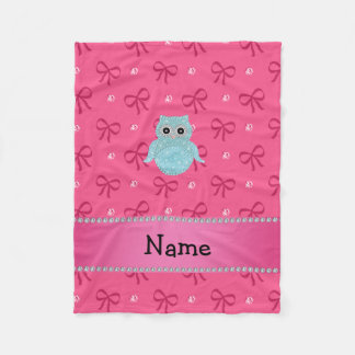 Personalized name bling owl diamonds pink bows fleece blanket