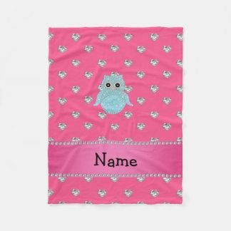 Personalized name bling owl diamonds pink hearts fleece blanket
