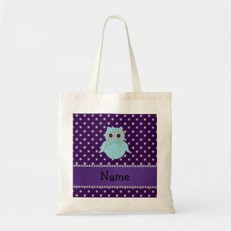 Personalized name bling owl diamonds purple diamon