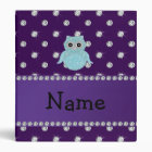 Personalized name bling owl diamonds purple diamon 3 ring binder