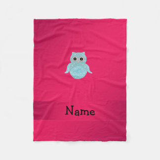 Personalized name bling owl pink fleece blanket