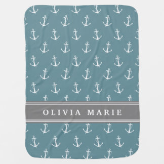 Personalized Name Blue Anchor Pattern Baby Blanket