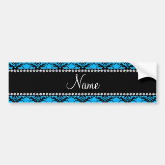 Personalized name Blue black damask Bumper Sticker