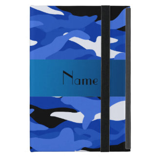 Personalized name blue camouflage iPad mini cases