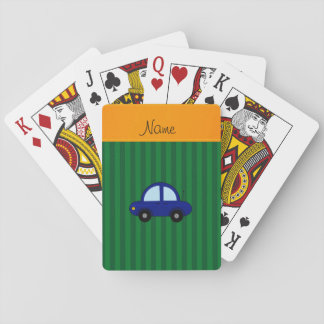 Personalized name blue car green stripes playing cards