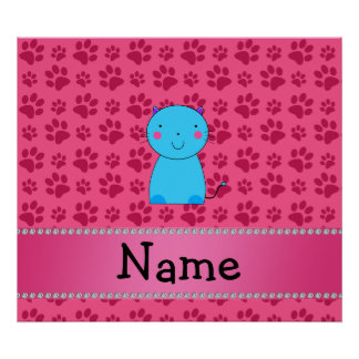 Personalized name blue cat pink paws posters