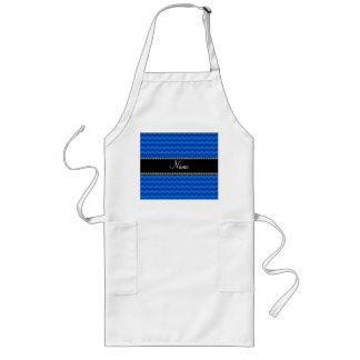 Personalized name blue chevrons aprons