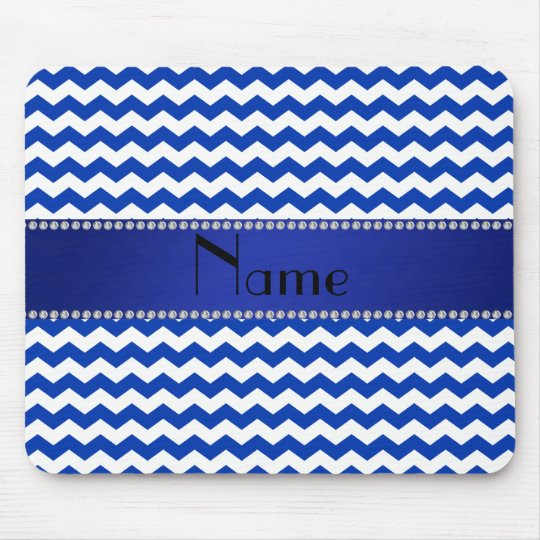 Personalized name blue chevrons diamonds mouse pad