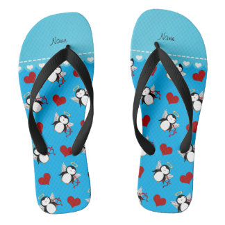Personalized name blue cupid penguins red hearts flip flops