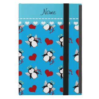 Personalized name blue cupid penguins red hearts iPad mini cases
