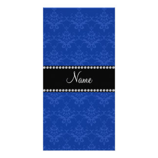 Personalized name Blue damask Photo Card Template