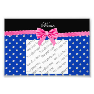 Personalized name blue diamonds pink bling bow photo art