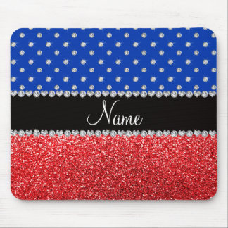 Personalized name blue diamonds red glitter mousepads