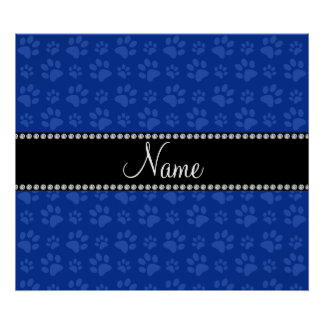 Personalized name blue dog paw print