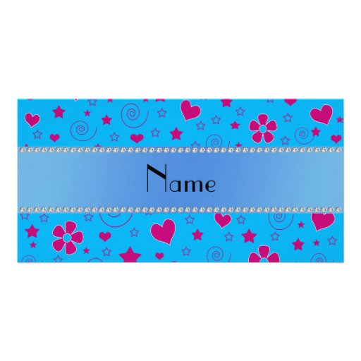 Personalized name blue flowers hearts stars swirls picture card