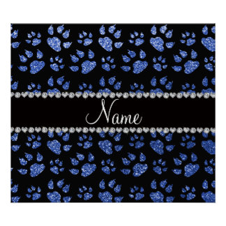 Personalized name blue glitter cat paws poster