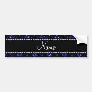 Personalized name blue glitter damask bumper sticker