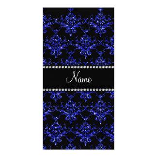 Personalized name blue glitter damask personalized photo card