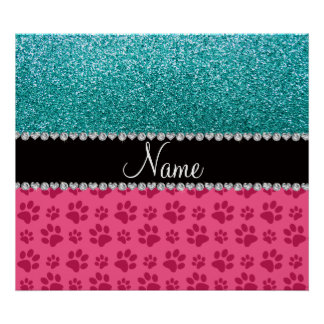 Personalized name blue glitter pink paws poster